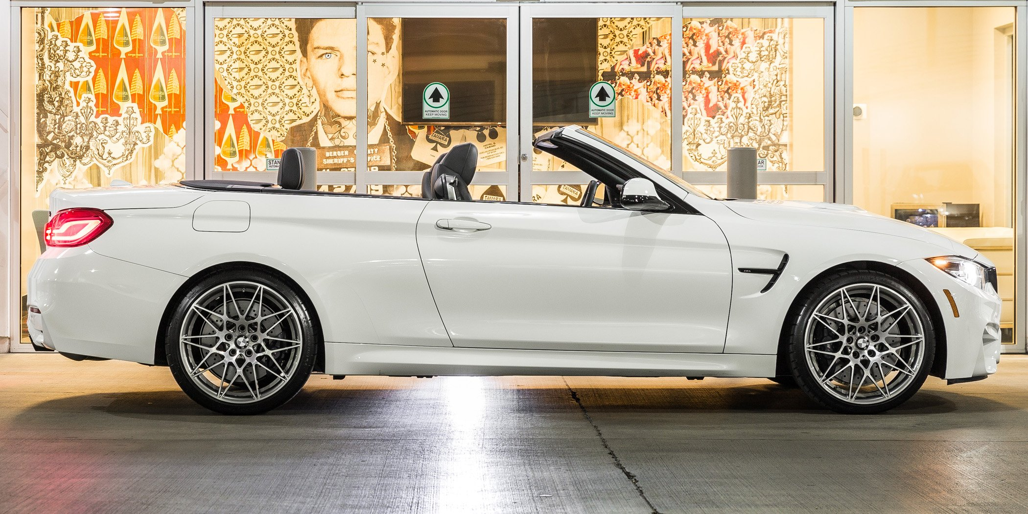 white BMW M4 convertible