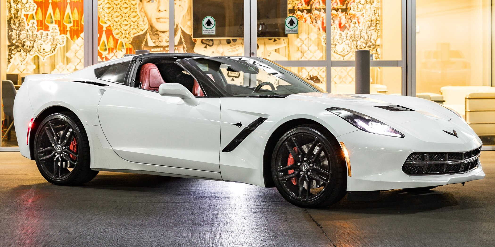 white Corvette Stingray convertible