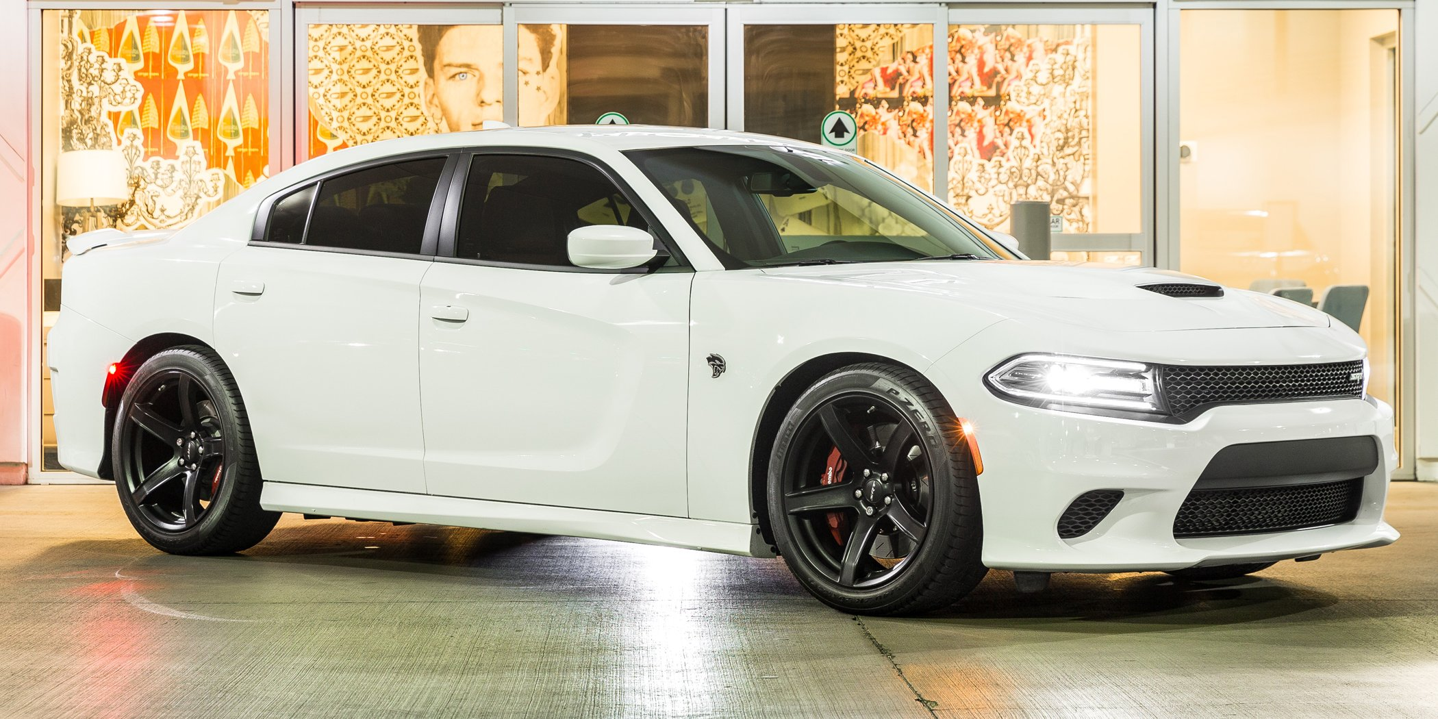 white Dodge Charger Hellcat