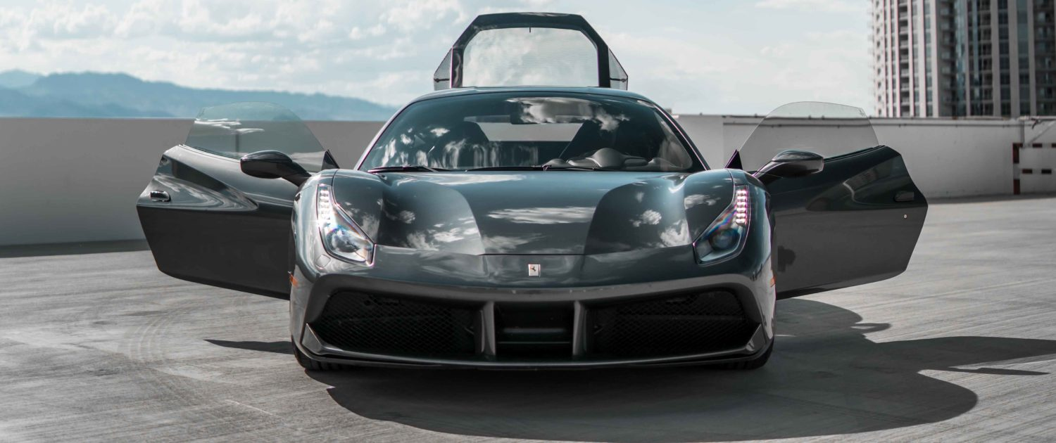 dark gray Ferrari Couple 488