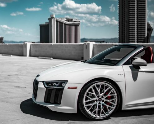 white Audi R8 Spider side view