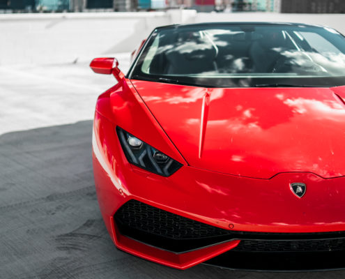 head light of red Lamborghini Huracan