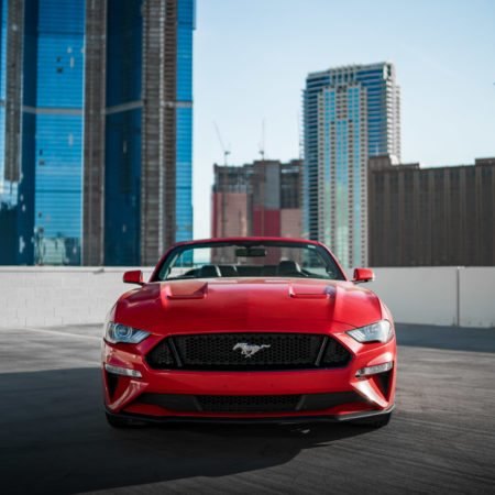 red Mustang front view