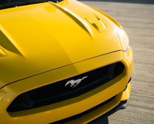 hood of yellow Mustang