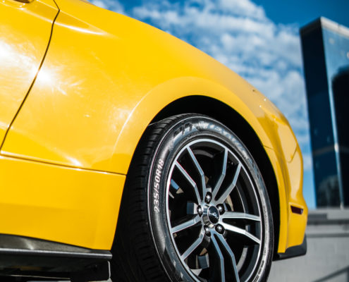 tire of yellow Mustang